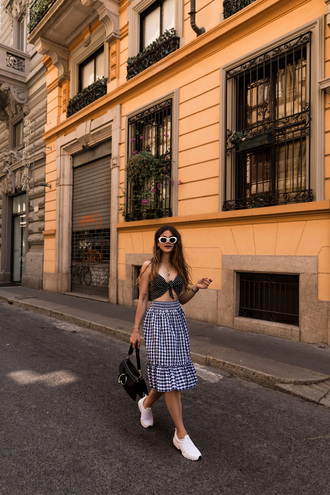 the fashion fraction blogger skirt sunglasses bag jewels gingham gingham skirt black bag sneakers summer outfits