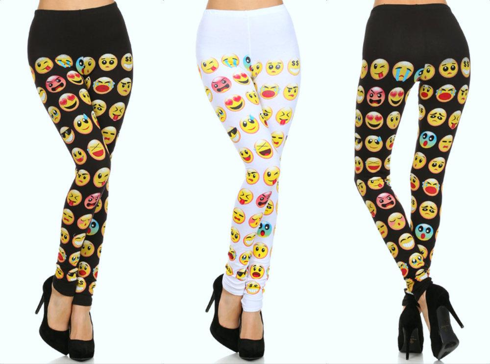 Shopaholicfashionistas — new! stretchy trendy womens emoji printed leggings bottoms pants comfy