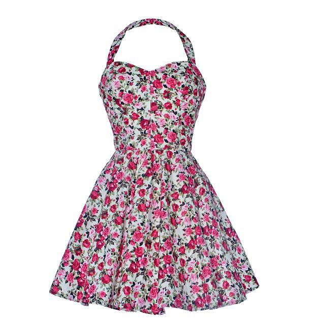 Vintage style rose print party dress