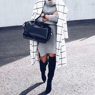 coat grid black and white checkered winter coat