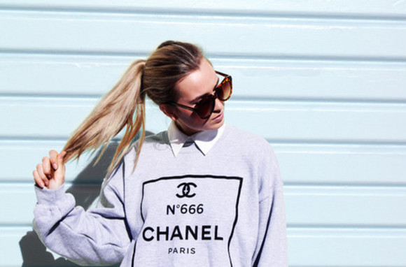 sweater grey sweater chanel sweater chanel