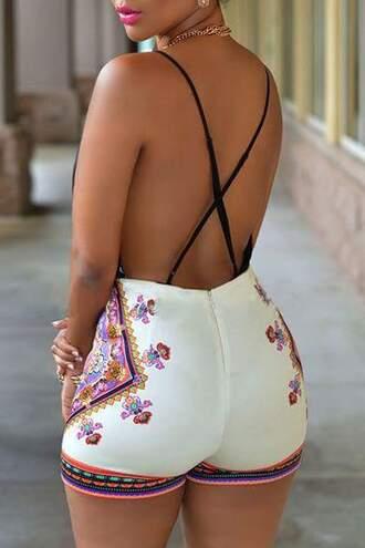 jumpsuit flowers white colorful short backless spring summer ethnic bandana