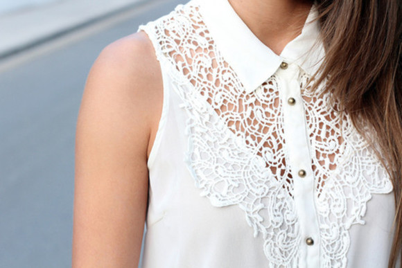 lace crochet white top blouse