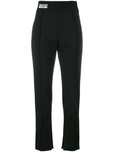 Fendi cropped women black wool pants