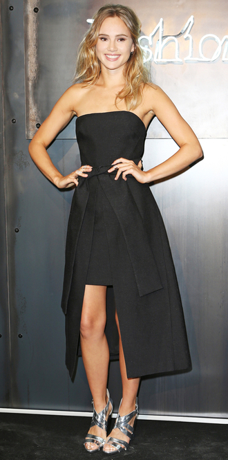 dress sandals strapless high low dress black dress prom dress suki waterhouse