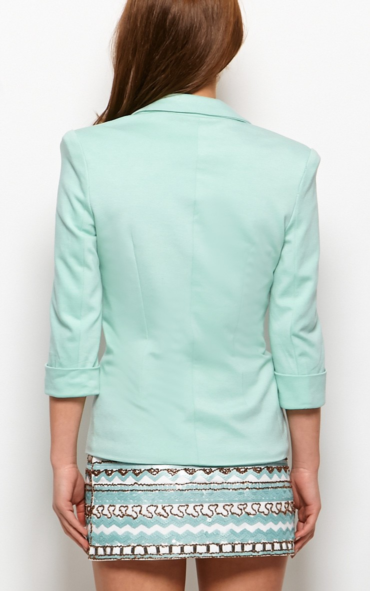 Clara Mint Structured Shoulder Blazer - blazer - prettylittlething.com | PrettyLittleThing.com