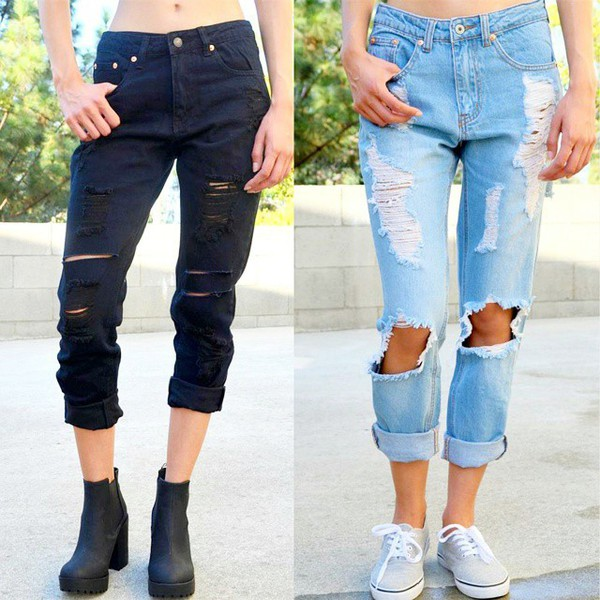 Jeans: denim, black denim, black jeans, boyfriend jeans, ripped ...