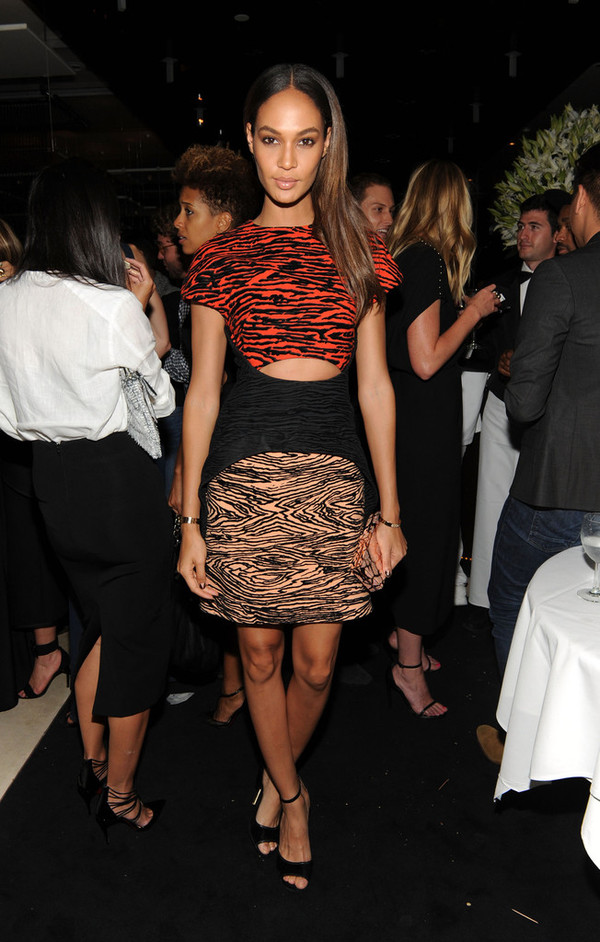 dress fashion week 2014 joan smalls animal print clubwear