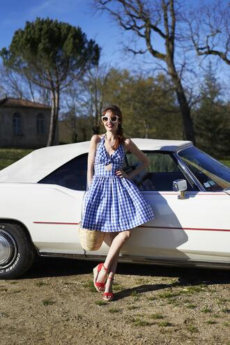 miss pandora blogger dress coat shoes straw bag blue dress wedges summer outfits