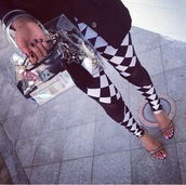 pants,black and white checkered leggings