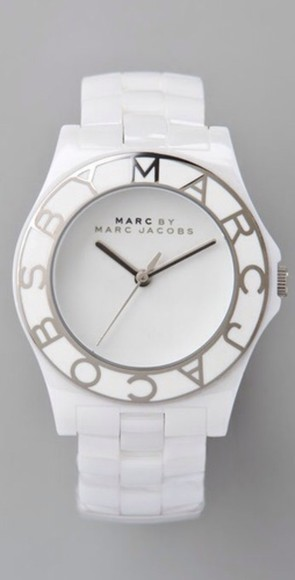 jewels white marc jacobs watch watch watches marc by marc jacobs marc jacobs silver