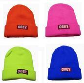 hat,girls hat,wool cap,letters,obey