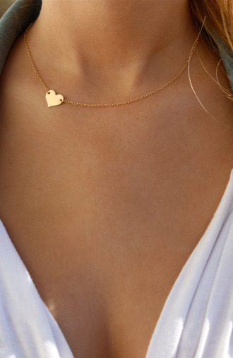 jewels necklace heart gold cute thin love tan summer jewelry