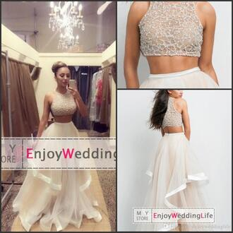 dress clothes two-piece prom dress ivory dress