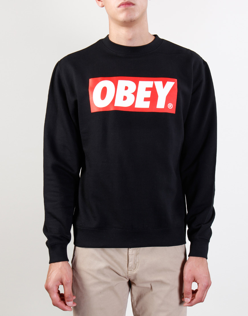Obey The Box Crew Black Sweater - The Box Crew Black ...