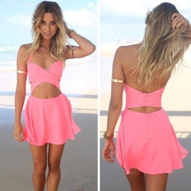 dress summer dress pink dress dress
