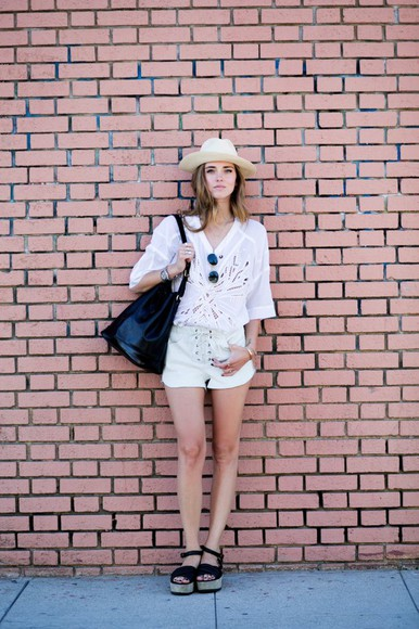 shoes isabel marant shorts louis vuitton the blonde salad bag sunglasses blogger leather shorts hat mirrored sunglasses ray ban sunglasses lace summer outfits leather bag