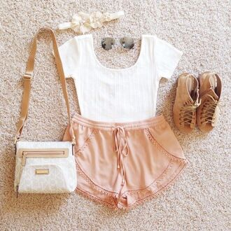 shorts white brown shirt shoes salmon short bag tan shirt brown shoes peach shorts blouse peach summer outfit beige look book highwaisted string me find these t-shirt top crop tops vintage sunglasses style fashion clothes white crop tops white dress cute dress indie jewel