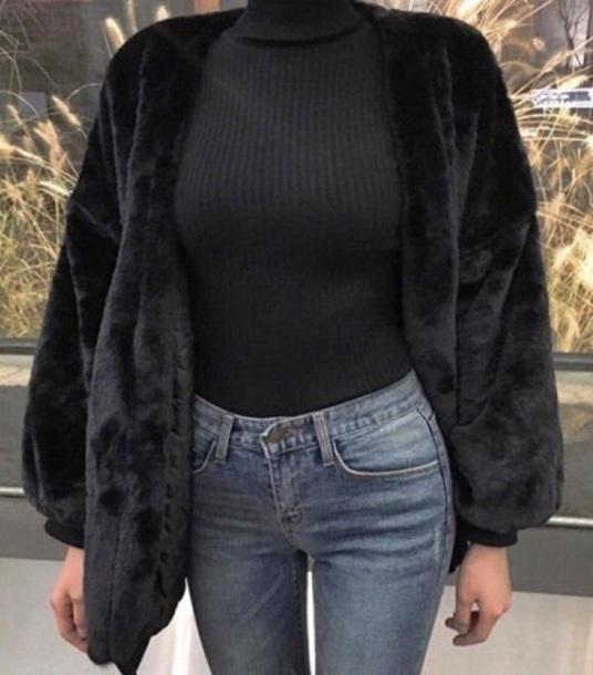 coat faux fur bomber jacket zip up black loose