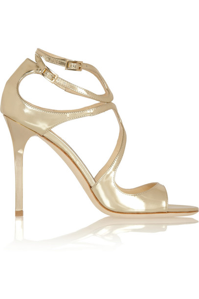 Jimmy Choo Lang Mirrored-Leather Sandals in gold
