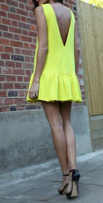 dress yellow dress mini dress bright colorful dress summer dress lemon