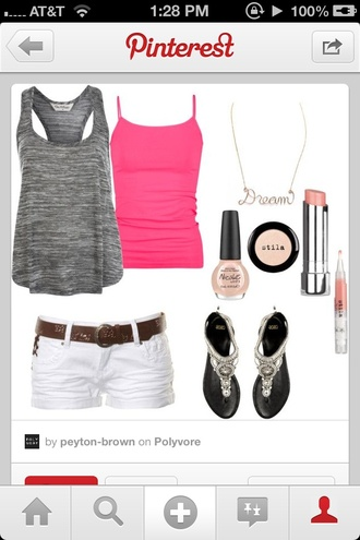 shorts pink tanktop gray loose shirt white shorts sliver sandals t-shirt shoes tank top jewels make-up