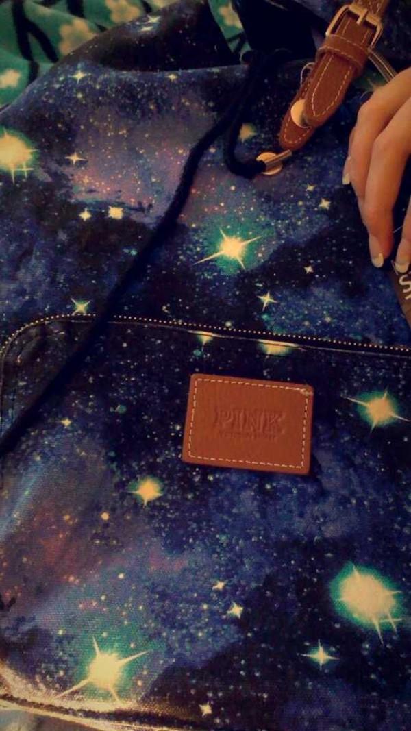 bag galaxy bag pink blue victoria's secret