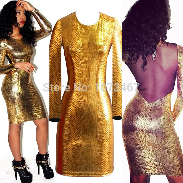 Aliexpress.com : Buy Hot Sale Brand New 2014 Women Vestidos Dress Long Sleeve O Neck Gold Snake Sexy & Club Women's Clothing Bodycon Party Dresses from Reliable clothing for cheap prices suppliers on onesiescos