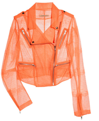 jacket coral pink lace sheer salmon motorcycle jacket christopher kane