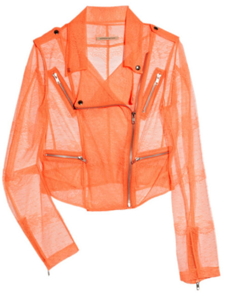 motorcycle jacket jacket coral pink lace sheer salmon christopher kane