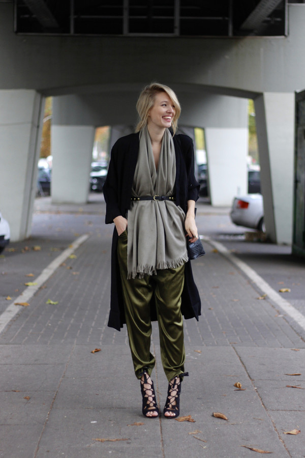 0d2d420463c7f ohh couture blogger jacket top scarf belt bag peep toe boots khaki fall  outfits pants shoes.