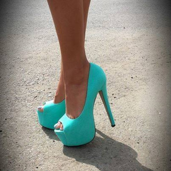shoes pumps heels high heels turquoise platform shoes peptoe bold shoes light blue