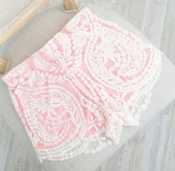 shorts pink pastel lace crochet