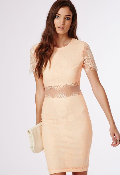 dress bodycon dress short sleeve lace dress nude dress nude midi dress