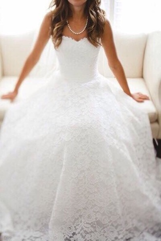 dress wedding lace strapless pearl beautiful white perfect