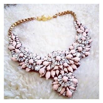 jewels necklace big jcrew diamonds pink beautifull love class party