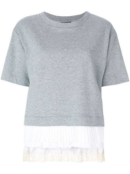 Twin-Set jumper pleated women cotton grey sweater