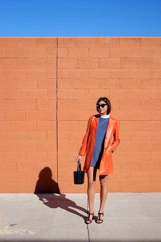 man repeller blogger coat shift dress blue dress black sandals spring outfits leather coat