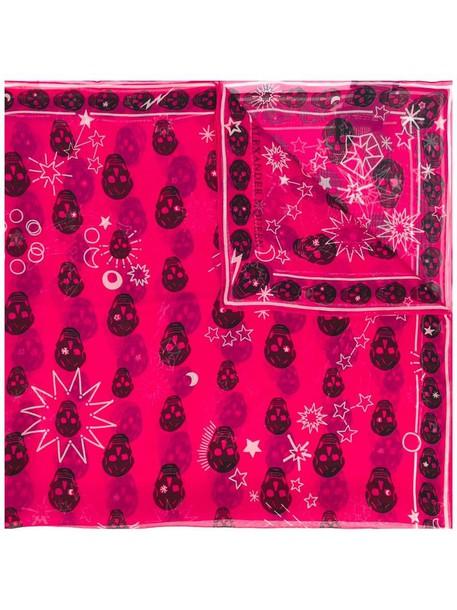 Alexander Mcqueen skull women scarf silk purple pink