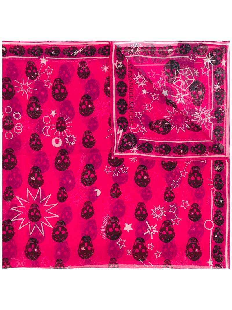 skull women scarf silk purple pink
