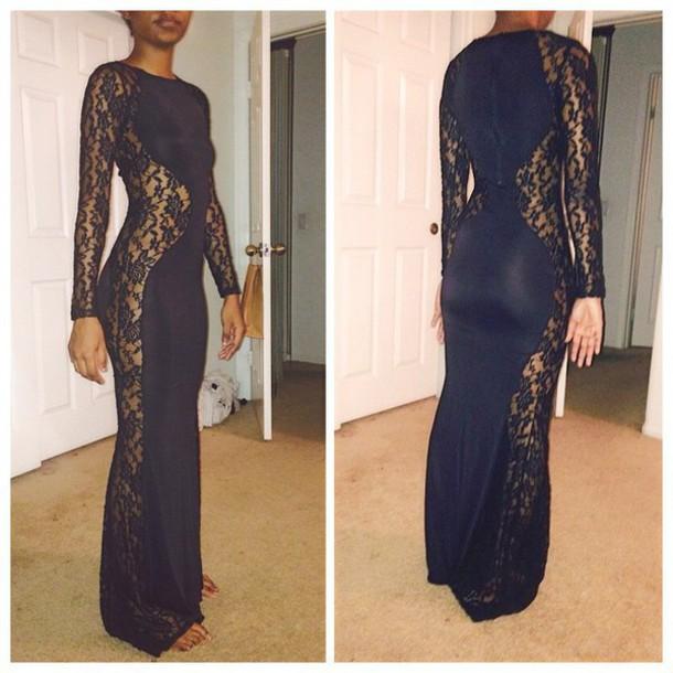 dress long sleeves long dress black dress see through dress