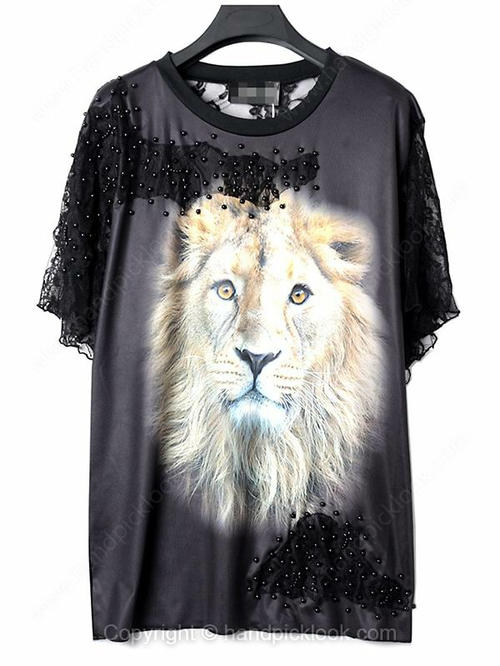 Black Round Neck Short Sleeve Lion Print Lace T-Shirt - HandpickLook.com
