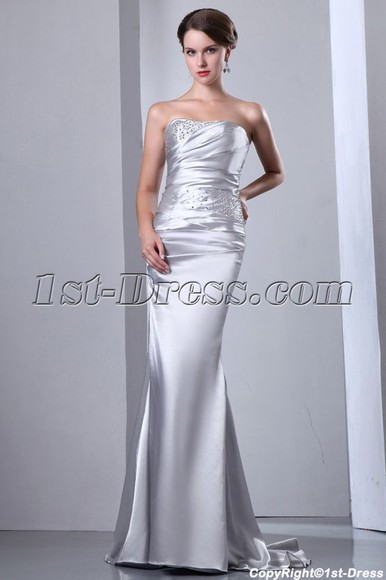 dress formal dress silver prom dress sheath dress