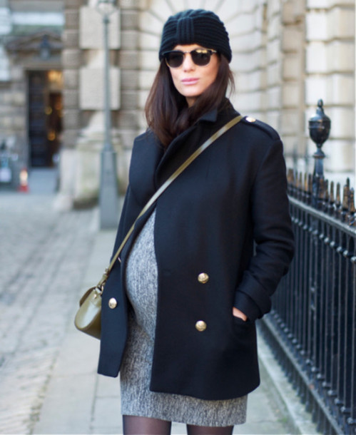 coat maternity maternity dress pea coat turban grey dress