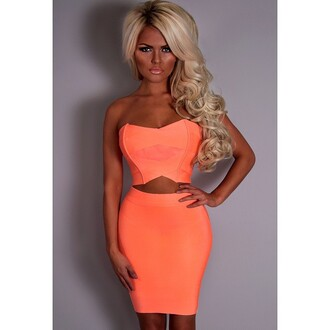 skirt pink boutique top coral two-piece bandage