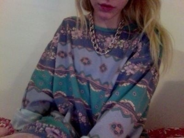 sweater purple sweater purple green chain gold chain pattern cute floral blue jewels