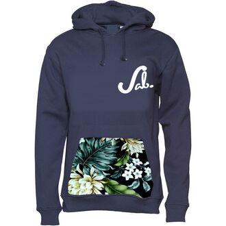 pocket top hoodie pouch hawaiian handmade tropical plants leaves sab sab apparel stagandbone navy