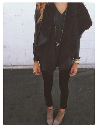 jacket vest fashion faux faux fur suede shearling style black fur vest shearling vest suede jacket