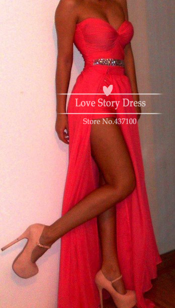 2013 the most popular prom dresses sexy sweetheart neckline rhinestones high slit floor length chiffon red coral evening dresses