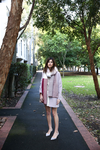 mademoiselle blogger sweater skirt coat scarf shoes jewels bag